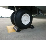 RAYFLEX AIRCRAFT WHEEL WITH CHOCKS IN PLACE